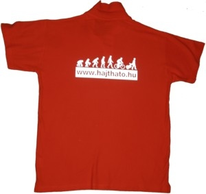 póló, fényvisszavető grafikával hátul
